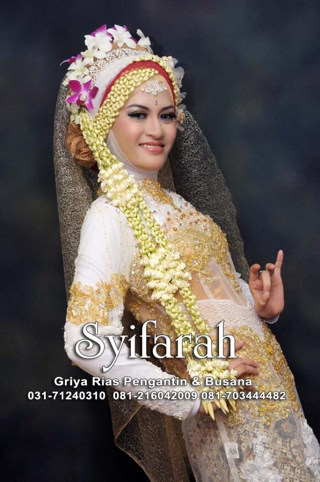 kebaya  pengantin muslim putih gold-syifarah-rias pengantin-amelia-iskandar-dapuan surabaya1